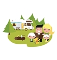 Family camping outdoors vector image