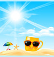 happy smile yellow mug cartoon on the beach with vector image