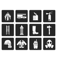 Black fire-brigade and fireman equipment icon vector image