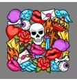 Print with retro tattoo symbols Cartoon old vector image vector image