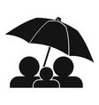Family under umbrella icon simple style vector image