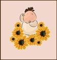 boy with flower camomile vector image vector image