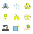 Kind of energy icons set flat style vector image
