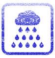 rain cloud framed textured icon vector image