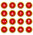 aviation icon red circle set vector image