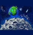 cartoon colorful space landscape template vector image