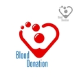 Blood donation symbol with heart made of red drops vector image