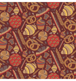 Seamless pattern for bakery theme with breadloaf vector image