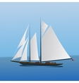 Big sailing yacht in the sea landscape vector image