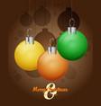 decorative christmas balls christmas card vector image