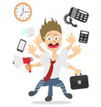 over worked businessman vector image