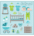 Set of baby boy icons vector image