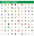 100 insect icons set cartoon style vector image