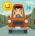 Driver Happy on the Way vector image vector image