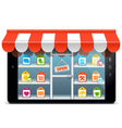 Tablet PC with Supermarket Concept vector image