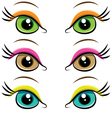 Set of pairs of eyes vector image