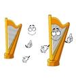 Classic wooden musical cartoon harp character vector image