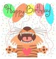 Cute happy birthday card with funny tiger vector image vector image