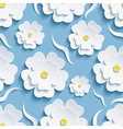 Background seamless pattern with sakura and waves vector image