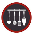 circular frame with spoons frying set and spatulas vector image