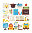 Flat Style Collection of Back to School and vector image