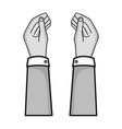 grayscale businessman hands with fingers and palm vector image