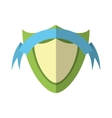green shield protection emblem blue ribbon shadow vector image