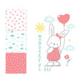 little rabbit with balloon surface design vector image
