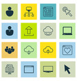 set of 16 internet icons includes website page vector image