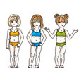 little girls cute children group standing wearing vector image vector image