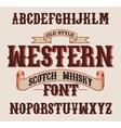 Western label font with decoration design vector image