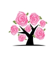Blooming tree with pink roses for your design vector image