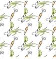 crispy carrot and green leek seamless pattern vector image