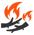 firewood fire flat icon vector image