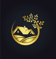home ecology gold tree logo vector image