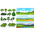 Nature scenes with fields and mountians vector image