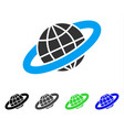 planetary ring flat icon vector image