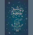 winter holidays greeting card merry christmas sign vector image