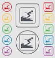 Skier icon sign symbol on the Round and square vector image