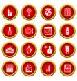 cosmetics icon red circle set vector image