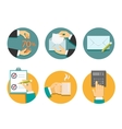 business hands with office objects vector image vector image