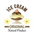 Vanilla and chocolate ice cream sundae badge vector image vector image