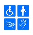 Disabled signs deaf blind and wheelchair vector image