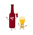 funny beer bottle and glass characters having fun vector image