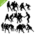 Kabaddi player silhouettes vector image