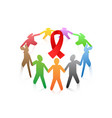 people around the red ribbon aids symbol vector image