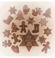 Graphic Christmas gingerbread vector image