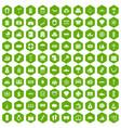 100 wealth icons hexagon green vector image
