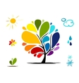 Rainbow tree with weather signs for your design vector image vector image