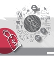 Paper and hand drawn label emblem with icons vector image vector image